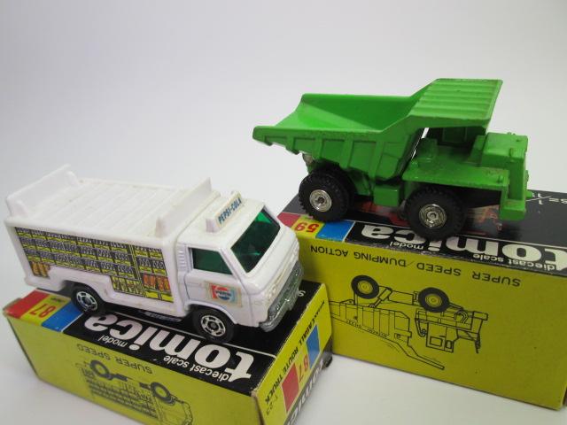 トミカ黒箱、日立 ダンプ・カー(グリーン)とニッサン キャブオール ルートトラック