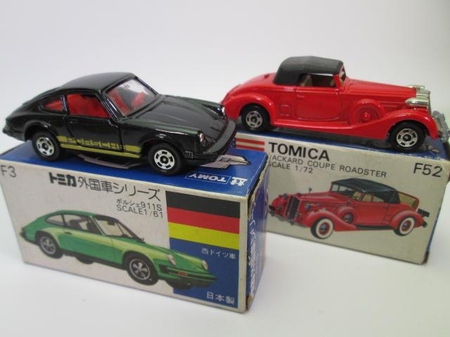 青箱トミカ、F3ポルシェ 911S とF52パッカード クーペ ロードスター