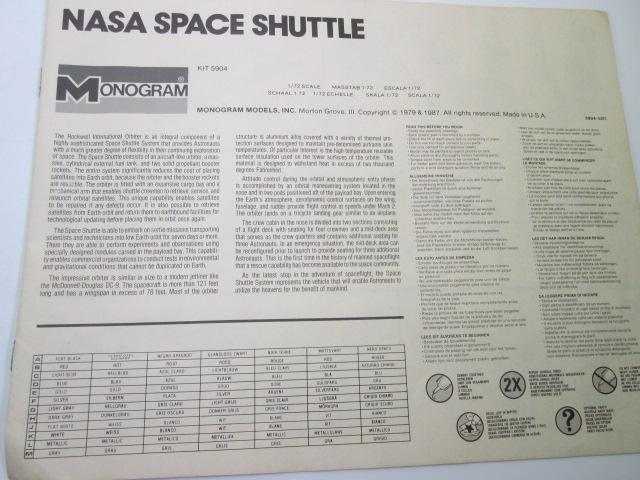 モノグラム 1/72 NASA SPACE SHUTTLE組み立て説明書