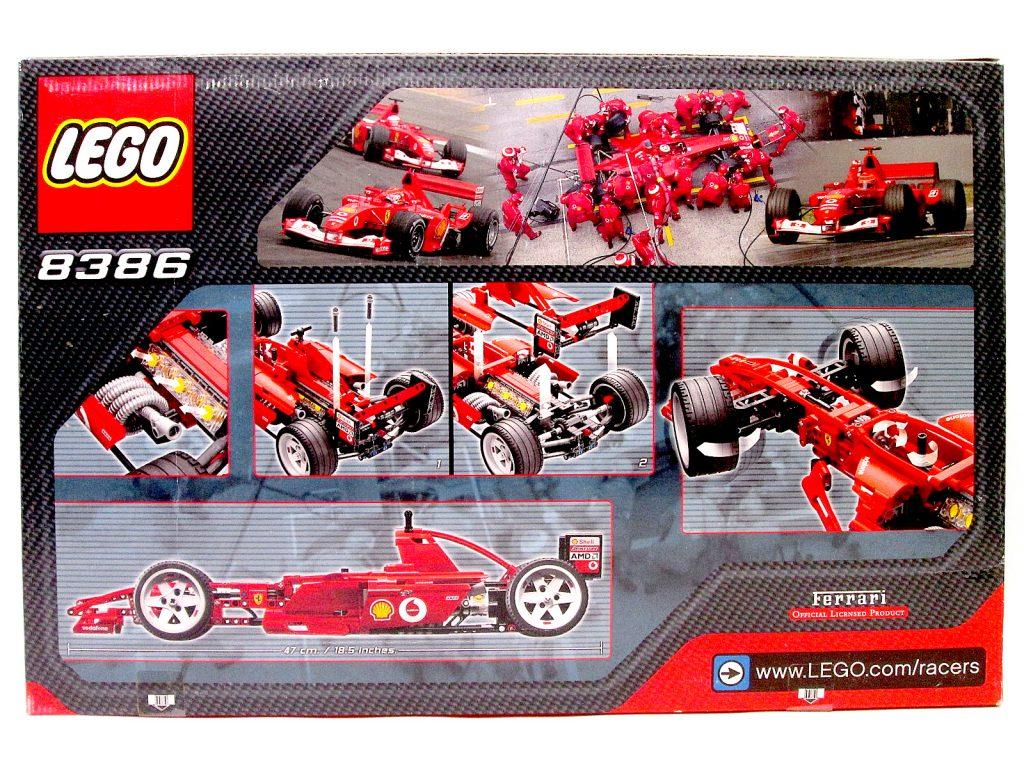レゴ/LEGO レーサー 8386 1/10 フェラーリ F1レースカーのパッケージ裏面