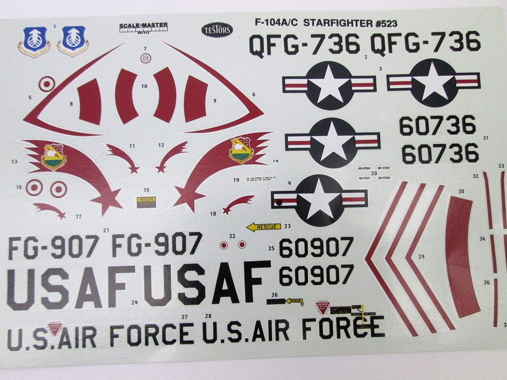 TESTORS 1/48 F-104C スターファイター デカール
