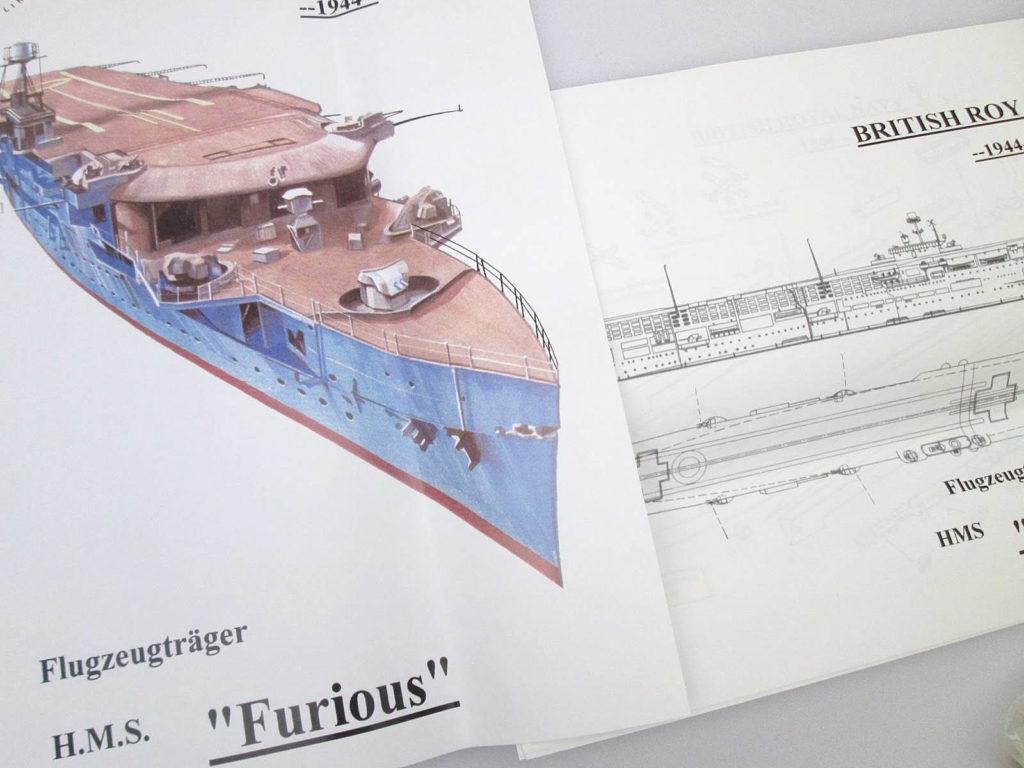 HPモデル 1/700 イギリス海軍 航空母艦 フューリアス 1944 説明書など