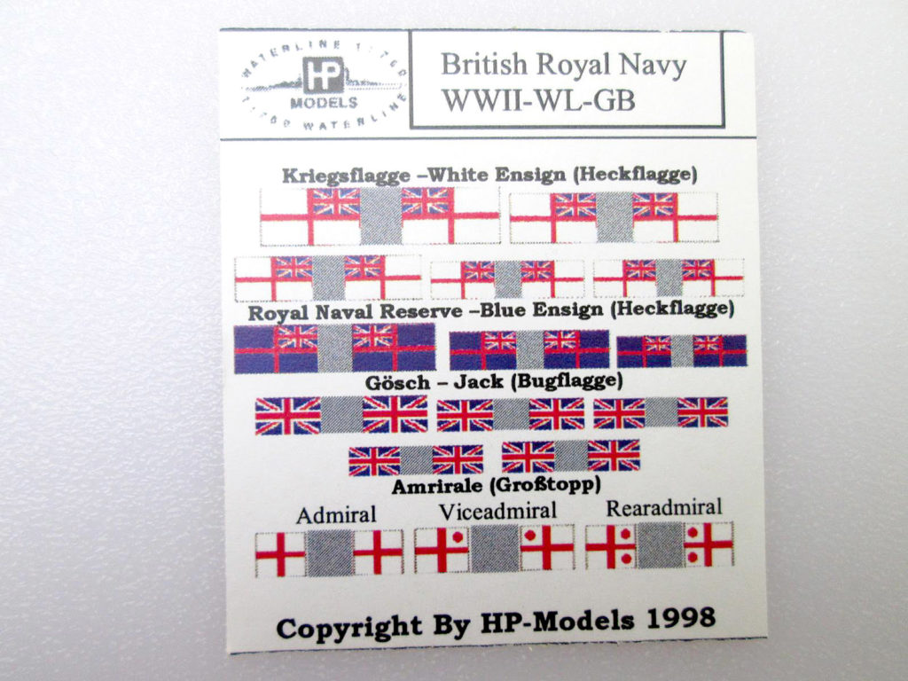 HPモデル 1/700 イギリス海軍 航空母艦 フューリアス 1944 軍艦旗